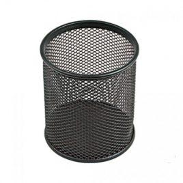 Bicchieri Porta Matite Metallo tondo cm. 8 Nero – silver